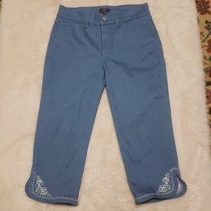 NYDJ Ariel Crop Blue Embroidered Jeans sz 4P